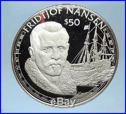 1988 COOK ISLANDS Proof Silver $50 Coin NOBEL EXPLORER FRIDTJOF NANSEN i72573