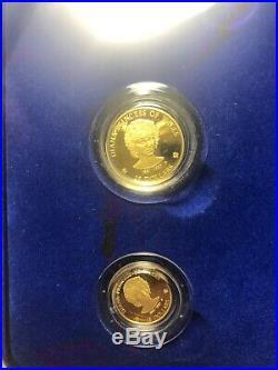 1997 cook islands princess diana 1/10oz 1/4oz gold silver coin setno coa