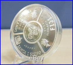 1998 Cook Islands, Fiji, Samoa Tripartite Fan-Shaped 5 Oz Silver Proof Coin Set