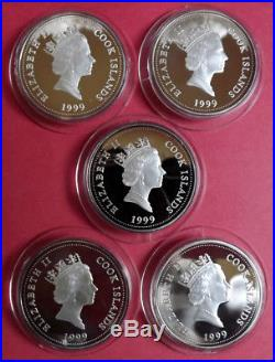 1999 Cook Islands 5 X $1 Threatened Flora 1oz. 999 Silver Proof Coins. Box & COA