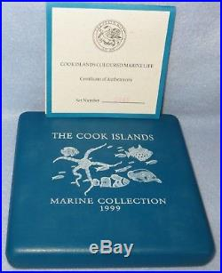 1999 Cook Islands Five 1oz Silver Coins Coloured Marine Life Set / Collection