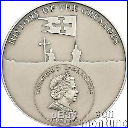 1st Crusade GODFREY OF BOUILLON Antique Finish Silver Coin 2009 Cook Islands
