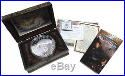 2001 Cook Islands Moby Dick $500 Fine Silver 2 Kilo With Treasure Chest & Movie