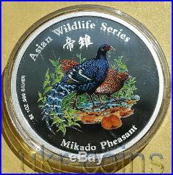 2001 Cook Islands Taiwan Bird 1 Oz Silver Color Coin Pheasant Asian Wildlife WWF