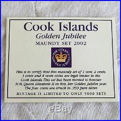 2002 COOK ISLANDS GOLDEN JUBILEE 4 COIN. 999 SILVER PROOF MAUNDY SET boxed/coa