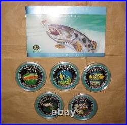 2002 COOK ISLAND $2D Asia wildlife TAIWAN fish Color PROOF Silver coin set with