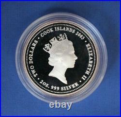 2003 Cook Is Silver Proof 2oz coin x 4 Australian Bushranger in Case / COA