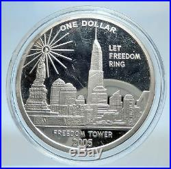 2005 COOK ISLANDS Statue of Liberty Twin Towers Freedom Tower Silver Coin i74024