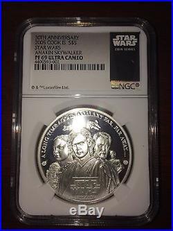 2005 Cook Islands Silver $5 Star Wars Anakin Skywalker PF69 UC NGC Coin