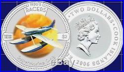 2006 Cook Islands 1930's Racer Series 5 X 1oz Coloured Silver Coin Collection
