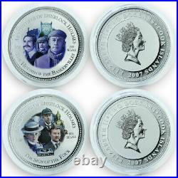 2007 Cook Islands Sherlock Holmes coins of the movies Silver. 999 Colored BOX&COA