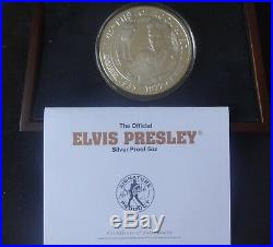 2007 SILVER PROOF 5OZ COOK ISLANDS $25 COIN BOX + COA ELVIS PRESLEY 30th ANNIVER