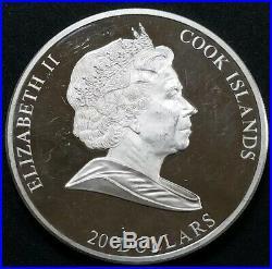 2008 Cook Islands 3 oz Silver. 999 Masterpieces Creation Of Adam $20 Dollar Coin