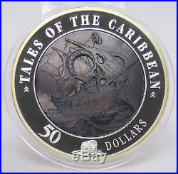 2008 Cook Islands $50 Tales of Caribbean Mother of Pearl 5 Oz. 999 Silver Coin
