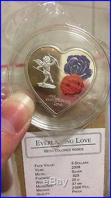 2008 cook islands everlasting love silver coin coa