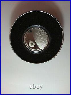 2009, 40th Anniversary of Apollo 11, Meteorite, Cook Islands, silver coin