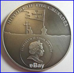 2009 COOK ISLANDS 1oz PURE SILVER $5 DOLLARS FIRST CRUSADE ANTIQUE FINISH (DR)