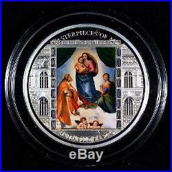 2009 Cook Islands $20 Masterpieces Raffaello Sanzio Sistine Madonna Silver Coin
