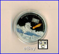 2011 Cook Islands 5 Dollar Sterling Silver Coin- Muonionalusta Iron Meteorite