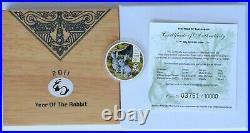 2011 Cook Islands 5 dollars Year Of The Rabbit Hase Silver Coin BOX COA