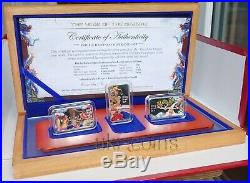 2012 Cook Islands $1 Lunar Year of the Dragon Silver Proof 3-Coin Set Chinese