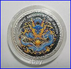 2012 Cook Islands $5 Prosperity Brought By The Dragon, Coloured 1 Oz Silver Coin