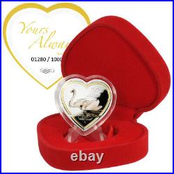 2013 Cook Islands $1 Yours Always Heart-shaped Proof Silver coin