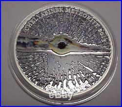 2013 Cook Islands $5 Coin Chelyabinsk Meteorite Insert Russia Silver With Coa