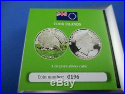 2014 $5 COOK ISLANDS 1 oz SILVER PROOF COINS. THE KIWI FLIGHTLESS BIRDS COLOURED