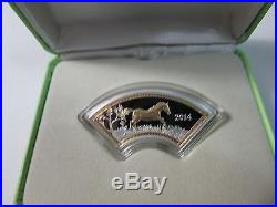 2014 Cook Islands $1 Year of the Horse Fan-Shaped Proof Silver Coin Rare