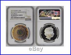 2014 Cook Islands $5 Moldavite Impact Meteorite 1 Oz Silver Coin NGC PF70