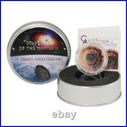 2014 Cook Islands $5 Moldavite Impact Meteorite Proof Silver Coin