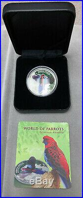 2014 Cook Islands Crimson Rosella 3D $5 Colorized Parrot Silver Proof Coin