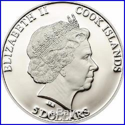 2014 Cook Islands MOLDAVITE IMPACT silver meteorite coin COA, box