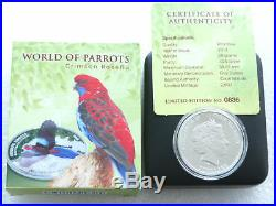 2014 Cook Islands Parrots 3-D Crimson Rosella $5 Five Dollar Silver Proof Coin