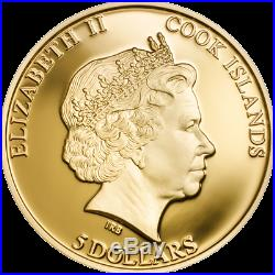 2014 SHADES OF NATURE HONEY BEE Gold Gilded Silver Coin Cook Islands $5