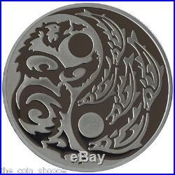 2015 1 oz Silver Palladium Coin Predator Prey Series Grizzly Salmon Cook Islands