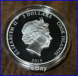 2015 5 Dollar Cook Islands Peacock 1st in Sold Out Series 1oz 999 Silver Coin $5