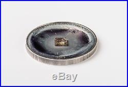 2015 CHONDRITE METEORITE METEOR Silver Coin 5$ Cook Islands RARE