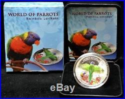 2015 COOK ISLANDS $5.925 SILVER 3D COIN World of Parrots Rainbow Lorikeet