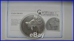 2015 Cook Islands $10 Canis Lupus Predators 2 Oz Antique Finish Silver Coin OGP
