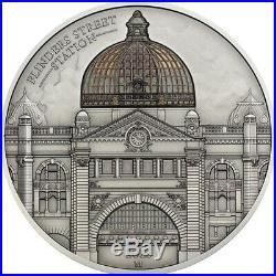 2015 Cook Islands $10 Flinders St Station 2oz Silver Antiqued Coin ONLY 999