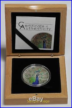 2015 Cook Islands 5$ 1oz Silver Coin Magnificent Life PEACOCK