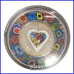 2015 Cook Islands $5 Murrine Millefiori Glass Art Venetian Murano Silver Coin