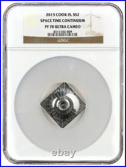 2015 Cook Islands Silver $2 Space Time Continuum PF70 UC NGC Coin RARE