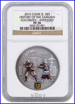 2015 Cook Islands Silver $5 History Of The Samurai Antiqued PF70 NGC Coin