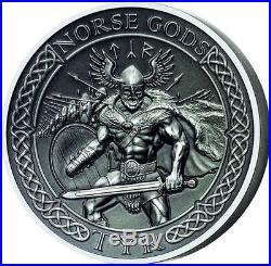 2015 NORSE GODS Series TYR 2 oz Silver Coin $10 Cook Islands COA Box