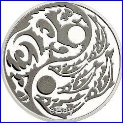 2015 PREDATOR PREY. 999 Silver Coin with Palladium $5 Grizzly vs Salmon COA CIT