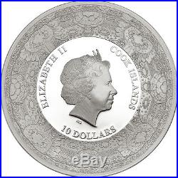 2015 ROYAL DELFT Sunflowers Van Gogh Porcelain Silver Coin 10$ Cook Islands