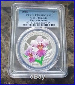 2016 $5 Cook Islands Singapore Orchid 1 Troy oz. 999 Silver Coin PCGS PR69DCAM